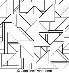 seamless, patrón, triángulo, retro, monocromo