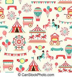 seamless, patrón, -, vendimia, carnaval