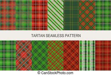 seamless, patrones, colores, mueca, tartán, navidad, rojo