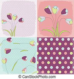 seamless, patrones, con, floral, fabri