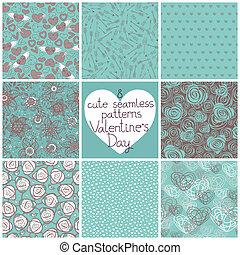seamless, patrones, día de valentín