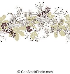 seamless, patten, com, floresta, flores plantas