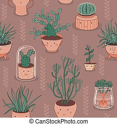 Seamless Patten With Cactus
