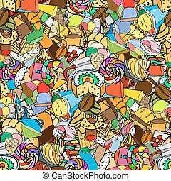 seamless, pattern., 集合, ......的, 糖果店