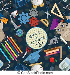 seamless pattern 1 illustration on school theme, international literacy day, back to school, flat style