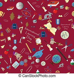 seamless pattern 10 illustration on school theme, international literacy day, back to school, flat style