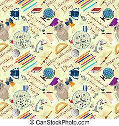 seamless pattern 2 illustration on school theme, international literacy day, back to school, flat style