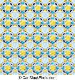Seamless pattern 22 geometric sketch yellow-blue