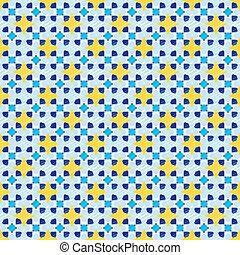 Seamless pattern 23 geometric sketch yellow-blue