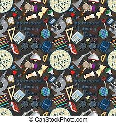 seamless pattern 3 illustration on school theme, international literacy day, back to school, flat style