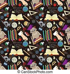 seamless pattern 4 illustration on school theme, international literacy day, back to school, flat style