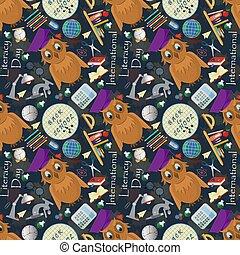 seamless pattern 6 illustration on school theme, international literacy day, back to school, flat style