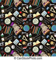 seamless pattern 7 illustration on school theme, international literacy day, back to school, flat style