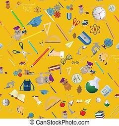 seamless pattern 9 illustration on school theme, international literacy day, back to school, flat style