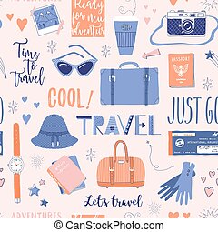 Seamless pattern about travel, vacation, adventure.