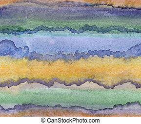 Seamless pattern - absract watercolor hand painted illustration of orange, green, purple and other strips