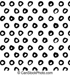 Seamless pattern. Abstract background with round brush strokes. Monochrome hand drawn texture.