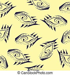 seamless pattern abstract blue eyes bright texture