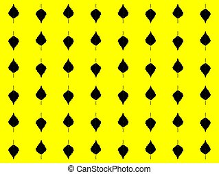 Seamless pattern. Abstract leaves of black trees on a yellow background. Vector