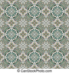 Seamless pattern. Abstract texture with abstract flowers. Endless vector background. Ethnic lace pattern. Green gray backdrop.
