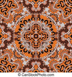 Seamless pattern. Abstract texture with abstract flowers. Endless vector background. Ethnic lace pattern. Orange brown backdrop.
