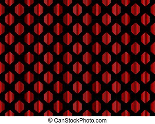 Seamless pattern. Abstraction geometric figure in red on a black background. Vector