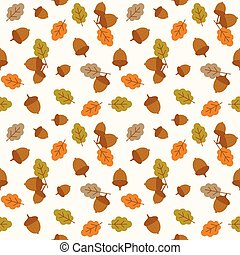 seamless pattern acorn and leaves for autumn and thanksgiving season, flat design