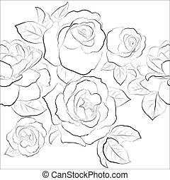 seamless, pattern., agancsrózsák