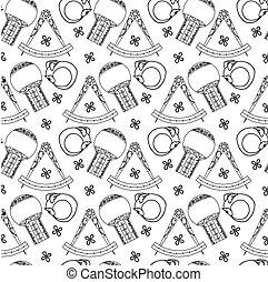 Seamless pattern Alchemy sign