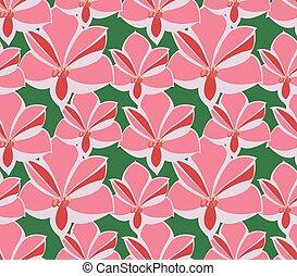 Seamless pattern amaryllis on green, vector