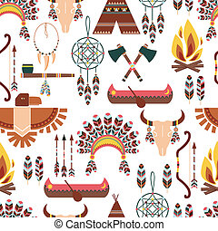 Seamless Pattern American Tribal Native Symbols - Set of...