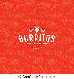 Seamless pattern and emblem for traditional mexican food...