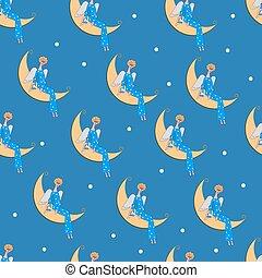 Seamless pattern angel on moon