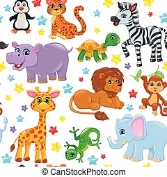 Seamless pattern animals and stars