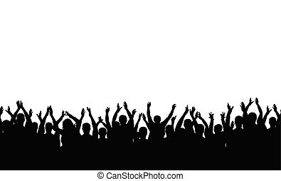 Seamless pattern. Applause crowd people silhouette. Cheerful crowd cheering.