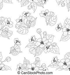 Seamless pattern, apple tree flowers contours