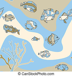 Seamless pattern aquarium fish wave
