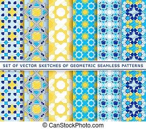 Seamless pattern arabic sketch blue yellow