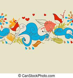 (seamless, pattern), automne, fond, aimer oiseaux