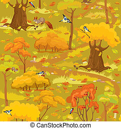 Seamless pattern - Autumn Forest Landscape with trees, mushrooms