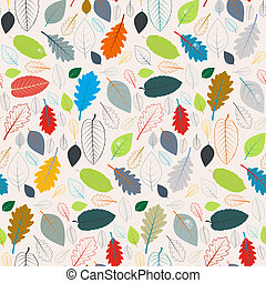 Seamless Pattern - Autumn Leaves - Abstract Vector Retro...