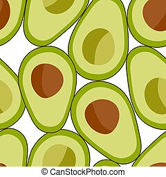Seamless pattern avocado fruit on a white background.
