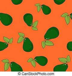 Seamless Pattern , Avocado on Orange Background