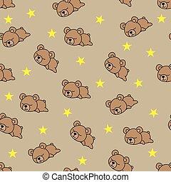 Seamless pattern baby bear sleeping on brown background, vector illustration