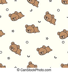 Seamless pattern baby bear sleeping on white background, vector illustration