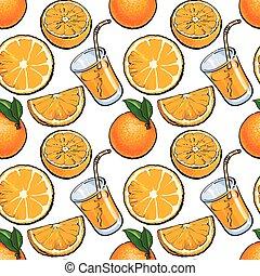 Seamless pattern, backdrop design of oranges and juice, sketch illustration