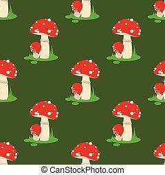 Seamless pattern background amanita mushrooms dangerous set vector poisonous season toxic fungus food illustration.
