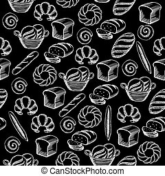 Seamless pattern background bakery package.