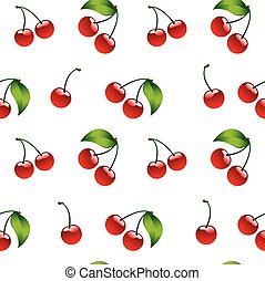 Seamless pattern background cherry red ripe berrie bio