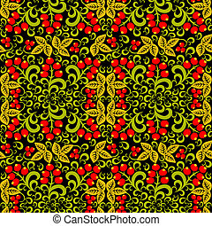 Seamless pattern background - Khokhloma Seamless pattern...